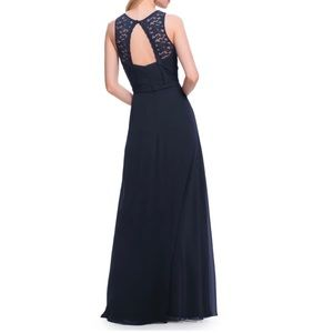 Levkoff Lace Bodice Chiffon A-Line Gown